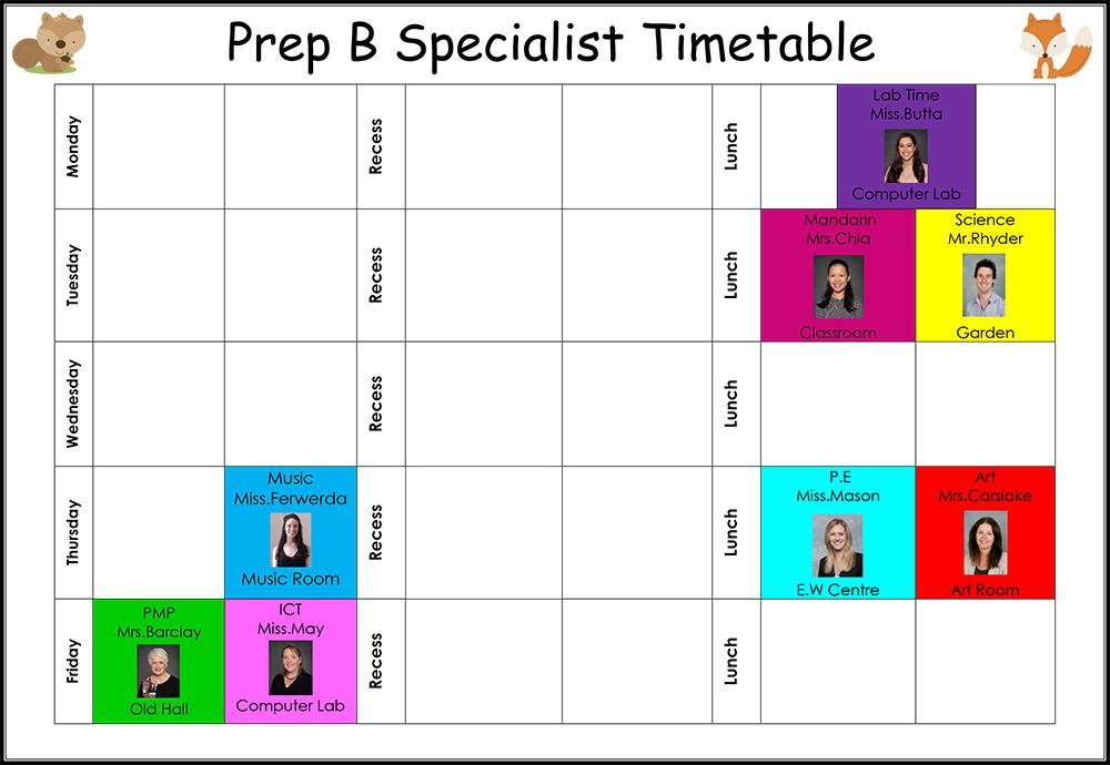 Prep Class Timetables